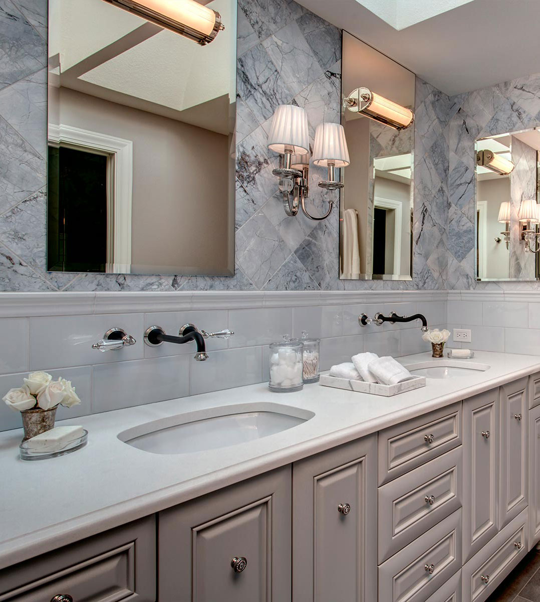 Provanti Designs master bath image - 'Dreamy Blue Dolomite'